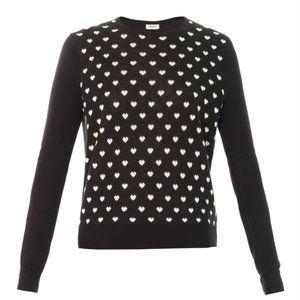 L'Agence Heart Print Silk Cashmere Sweater M